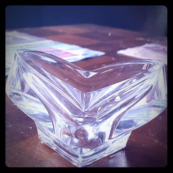 Heart glass candle holder.